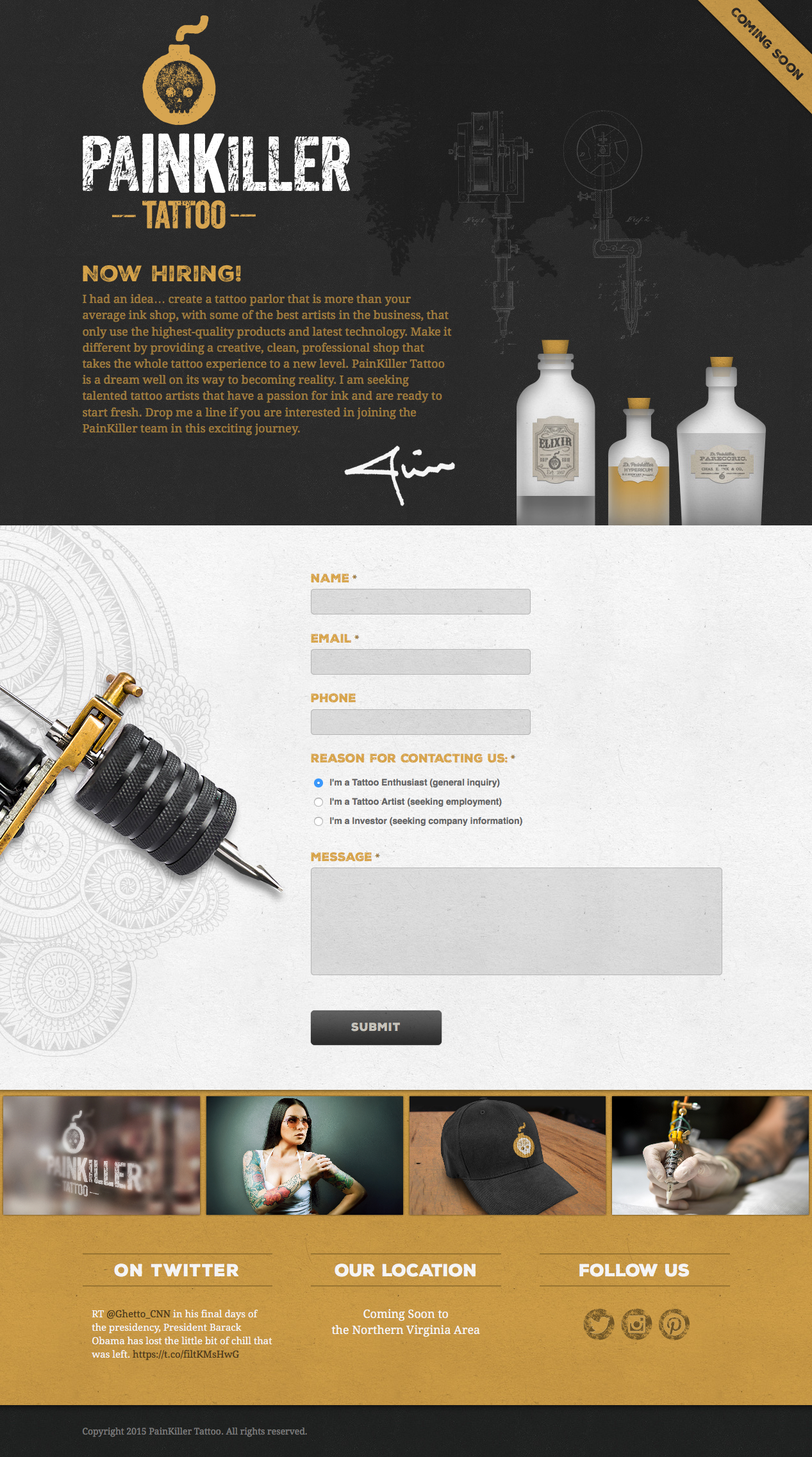 Painkiller Tattoo Website Design by ACS Creative